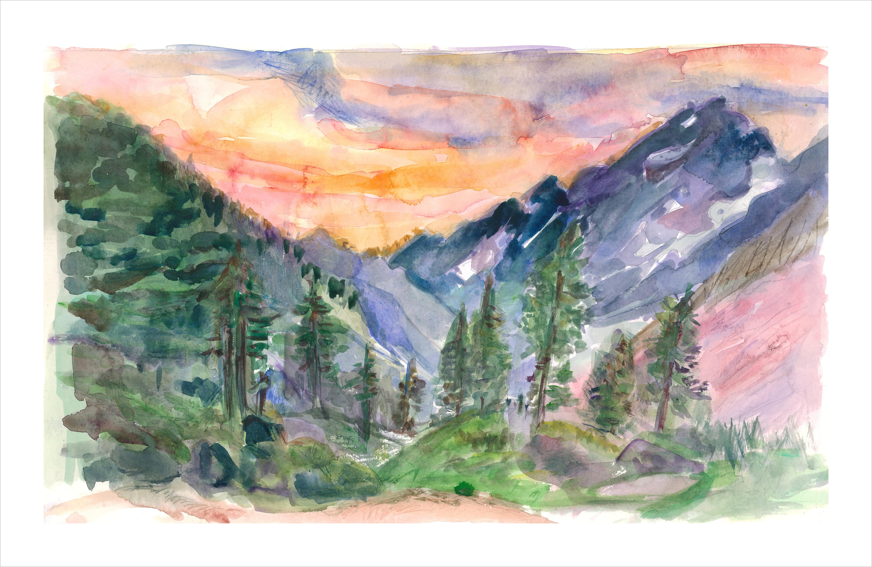 Landscape  Purple Mountains & Pine Trees 13 x 20