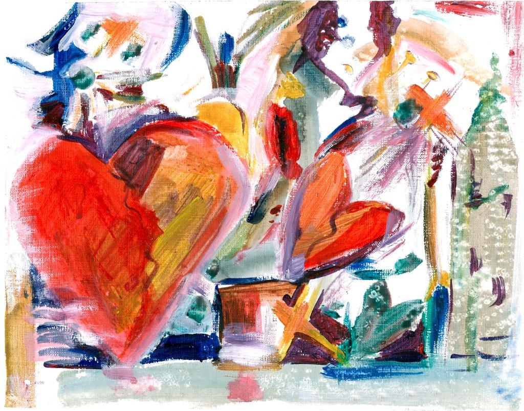 Oil Hearts  2013 10 x 14
